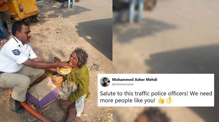 cop feed homeless woman, hyderbad traffic police, police help homeless woman, good news, viral news, viral photos, indian express