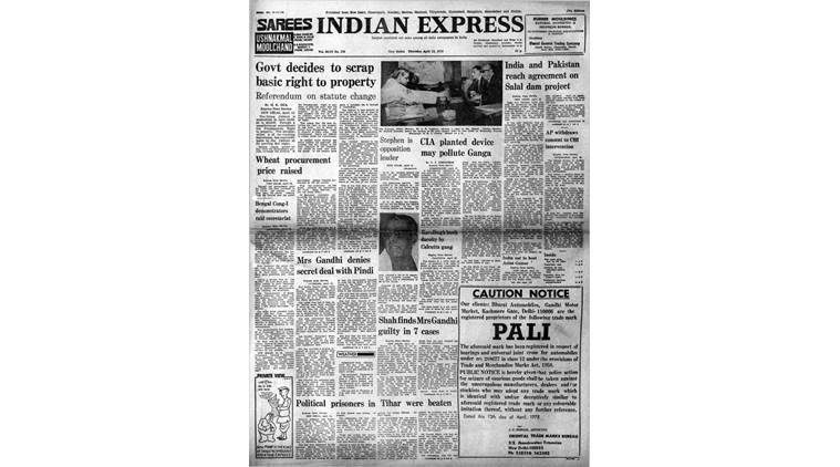 Indian express Forty Years Ago, indian express front page, indian express editorial