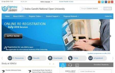 IGNOU re-registration 2018 for July cycle begins at ignou.ac.in