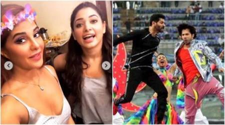 IPL 2018 behind the scenes: Varun Dhawan and Prabhudheva cheer for Mumbai and Chennai teams, Tamannaah-Jacqueline all praise for each other