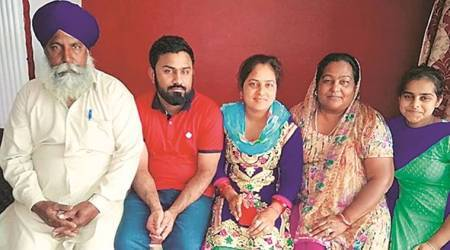 Dalwinder Singh (27) with his family in Hoshiarpur.