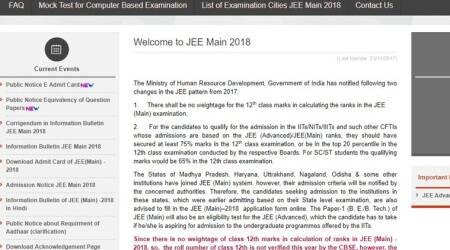 JEE Main results 2018: How to check at jeemain.nic.in, cbseresults.nic.in
