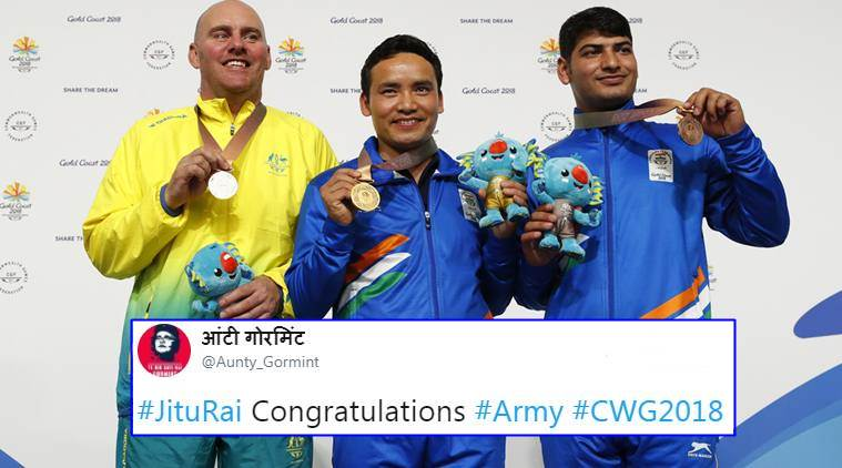 CWG 2018, Jitu Rai, Om Mitharval, Cwg 2018, commonwealth games 2018, mens 10m air pistol results, 10m air pistol final, India medal tally, twitter reactions, cwg news, indian express, indian express news