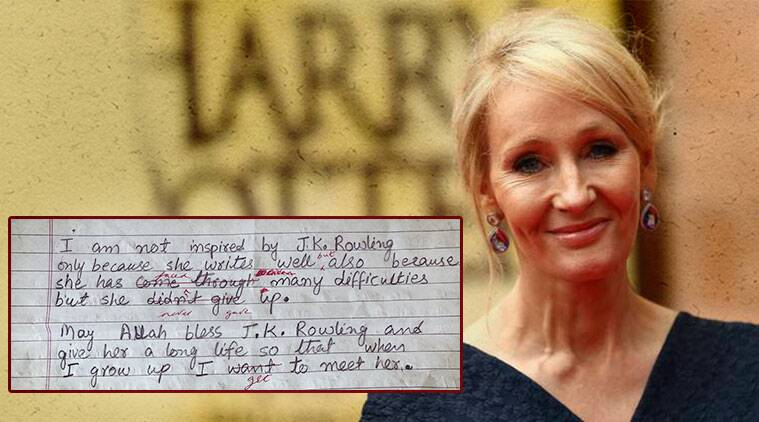 JK Rowling, JK Rowling J&K kid reply, Jammu & Kashmir, Jammu & Kashmir kid JK Rowling meet, JK Rowling send gift to Jammu & Kashmir kid, JK Rowling life story, JK Rowling inspirational quotes, indian express, indian express trending news