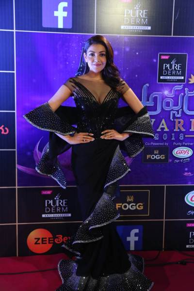 Kajal Agarwal at the Zee Telugu Apsara Awards 2018.