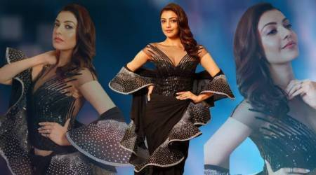 Kajal Aggarwal's stunning black ruffle sari is what you need to own the spotlight