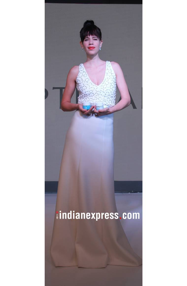 Kalki Koechlin, Kalki Koechlin Oriflame, Kalki Koechlin fashion, Kalki Koechlin latest photos, Kalki Koechlin Anand Bhushan, Kalki Koechlin white gown, indian express, indian express news