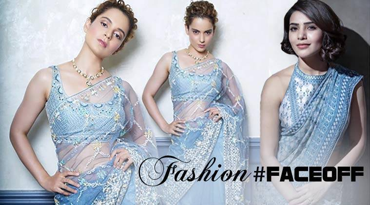 Kangana Ranaut, Kangana Ranaut latest photos, Kangana Ranaut fashion, Kangana Ranaut sari Anita Dongre, Kangana Ranaut chiffon saris, Kangana Ranaut ethnic outfits, Samantha Prabhu, Samantha Prabhu latest photos, Samantha Prabhu fashion, Samantha Prabhu Anita Dongre sari, indian express, indian express news