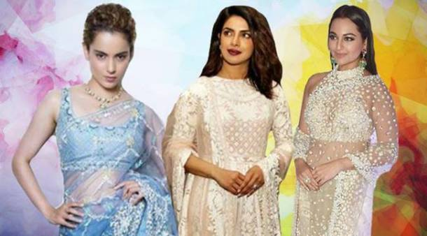 wedding outfits, bollywood wedding outfits, white wedding outfits, blue wedding outifits, Priyanka Chopra, Kangana Ranaut, alia bhatt, manushi chhillar, Sonakshi Sinha, mahira khan, khushi kapoor, malaika arora, karisma kapoor, yami gautam, esha gupta, athiya shetty, sonali bendre, celeb fashion, bollywood fashion, indian express, indian express news