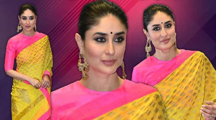 Kareena Kapoor Khan yellow sari, Kareena Kapoor Khan Masaba Gupta, Kareena Kapoor Khan lokmat event, Kareena Kapoor Khan fashion, Kareena Kapoor Khan latest photos, Kareena Kapoor Khan ethnic fashion, Kareena Kapoor Khan style, indian express, indian express news