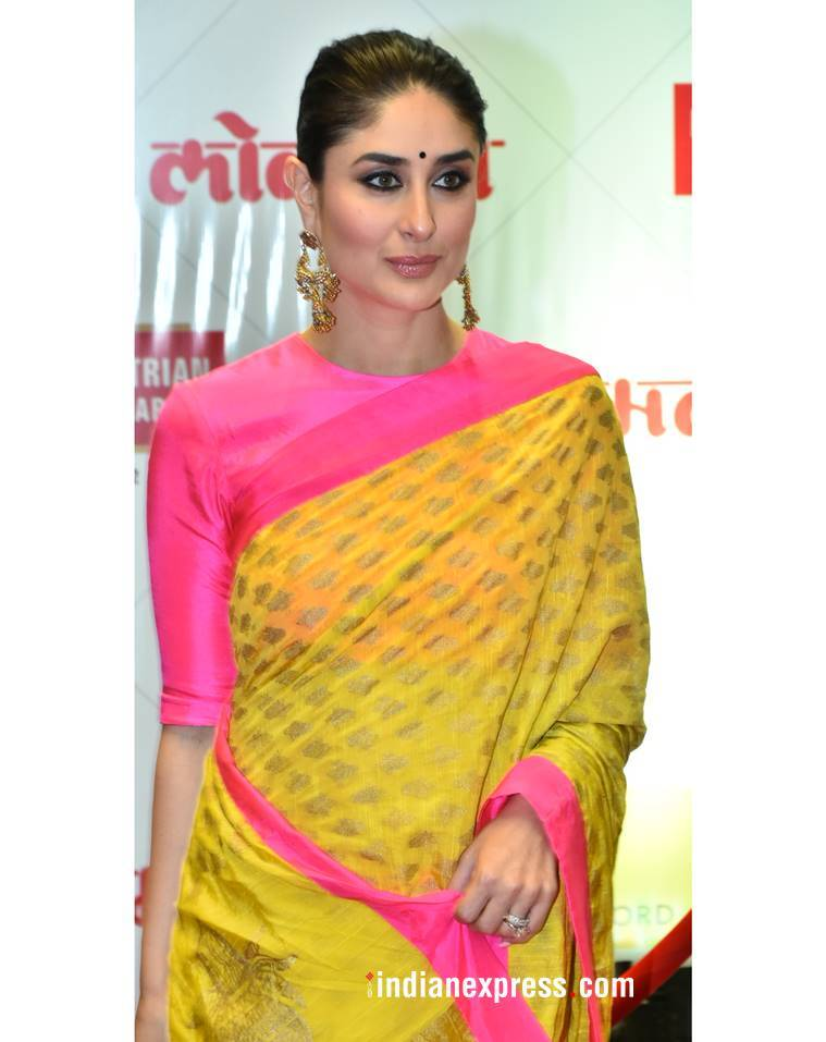 Kareena Kapoor Khan yellow sari, Kareena Kapoor Khan Masaba Gupta, Kareena Kapoor Khan lokmat event, Kareena Kapoor Khan fashion, Kareena Kapoor Khan latest photos, Kareena Kapoor Khan ethnic fashion, Kareena Kapoor Khan style, indian express, indian express news