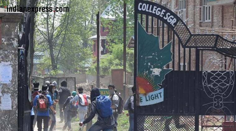kathua rape protest, kashmir, jk, students injured in clashes, indian express