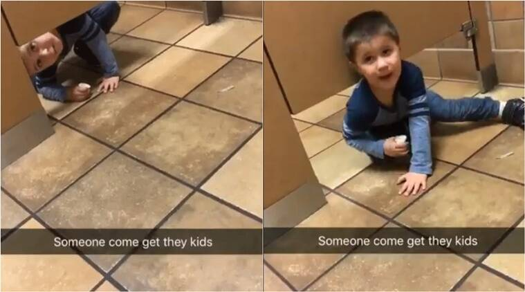 kid in toilet, little kid in toilet, andrew video of kid in toilet viral, Levi Stevens video viral, Levi Stevens cute kids, cute kids videos, Indian Express, Indian Express News