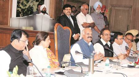 At the meeting of the UT Administrator Advisory Council at Hotel Mountview in Chandigarh on Wednesday. (Express photo)