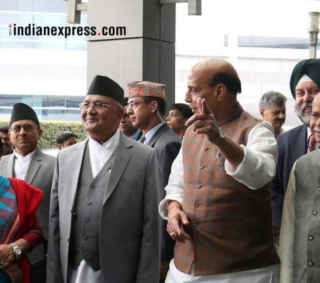 kp oli photos, nepal images, kp oli india visit pictures, nepal prime minister pics, kp oli modi meeting, rajnath singh, indian express