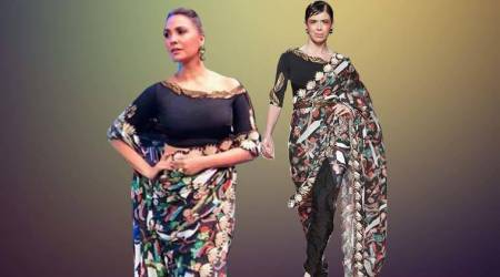 Lara Dutta's 'Bird of Juno' sari by Shivan and Narresh is a winner but the styling is a big dud