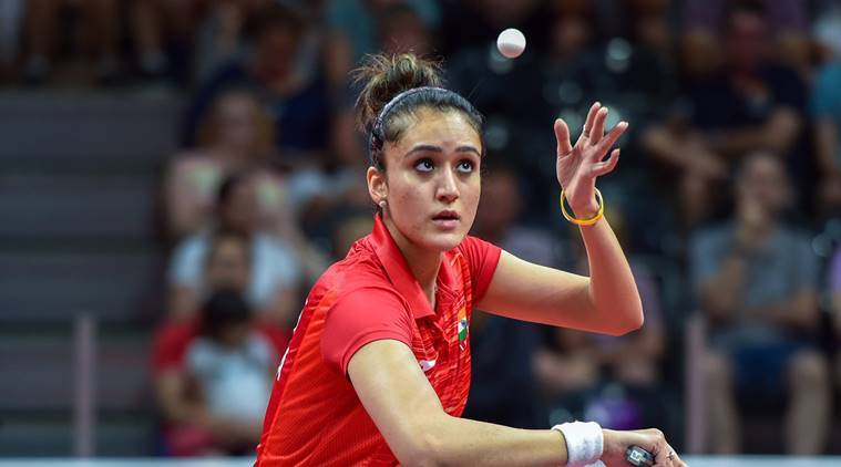 Manika Batra in action for India at the Commonwealth Games in Gold Coast