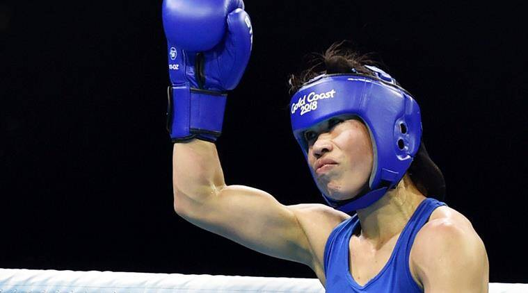 Mary Kom in a friendly bout with sports minister Rajyavardhan Singh Rathore
