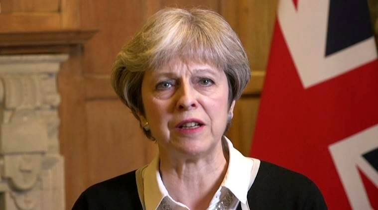 syria airstrikes, theresa may, british military, british pm, theresa may full syria speech, indian express