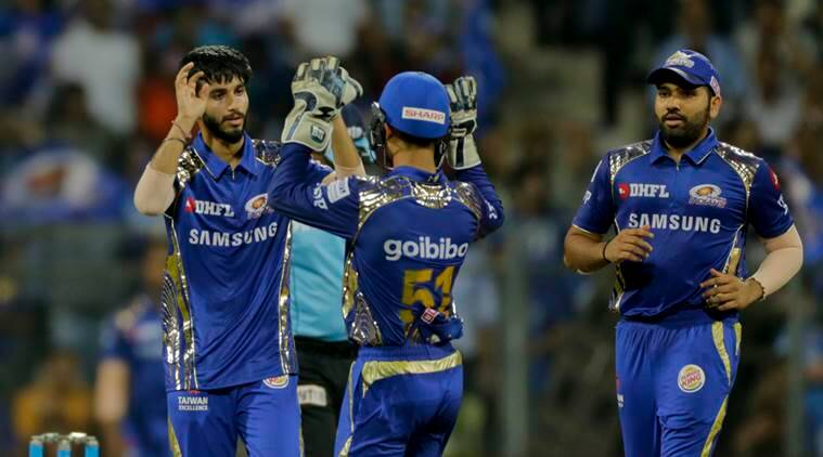 Mumbai Indians Mayank Markande celebrates the wicket of Sunrisers Hyderabad batsman Mohammad Nabi