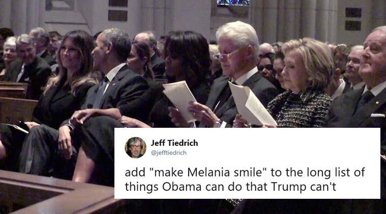 barack obama, melania trump, barbara bush funeral, donald trump, melania obama smiling photo, melania barack obama smiling pic, viral news, indian express, world news, trump obama photos