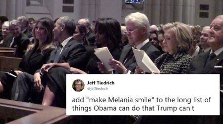 Photo of Melania Trump smiling with Barack Obama at Barbara Bush's funeral takes Twitter by storm