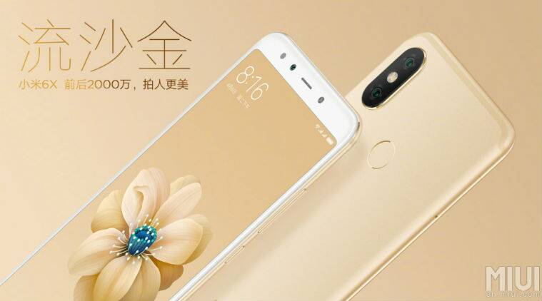 Mi 6X in gold colour