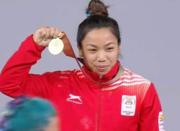 Mirabai Chanu with her gold medal at Gold Coast