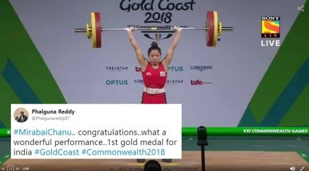 CWG, CWG 2018, Mirabai Chanu, Mirabai Chanu wins, Mirabai Chanu gold, Mirabai Chanu sets CWG record, Mirabai Chanu CWG gold, Mirabai Chanu India's first gold, Indian Express, Indian Express News