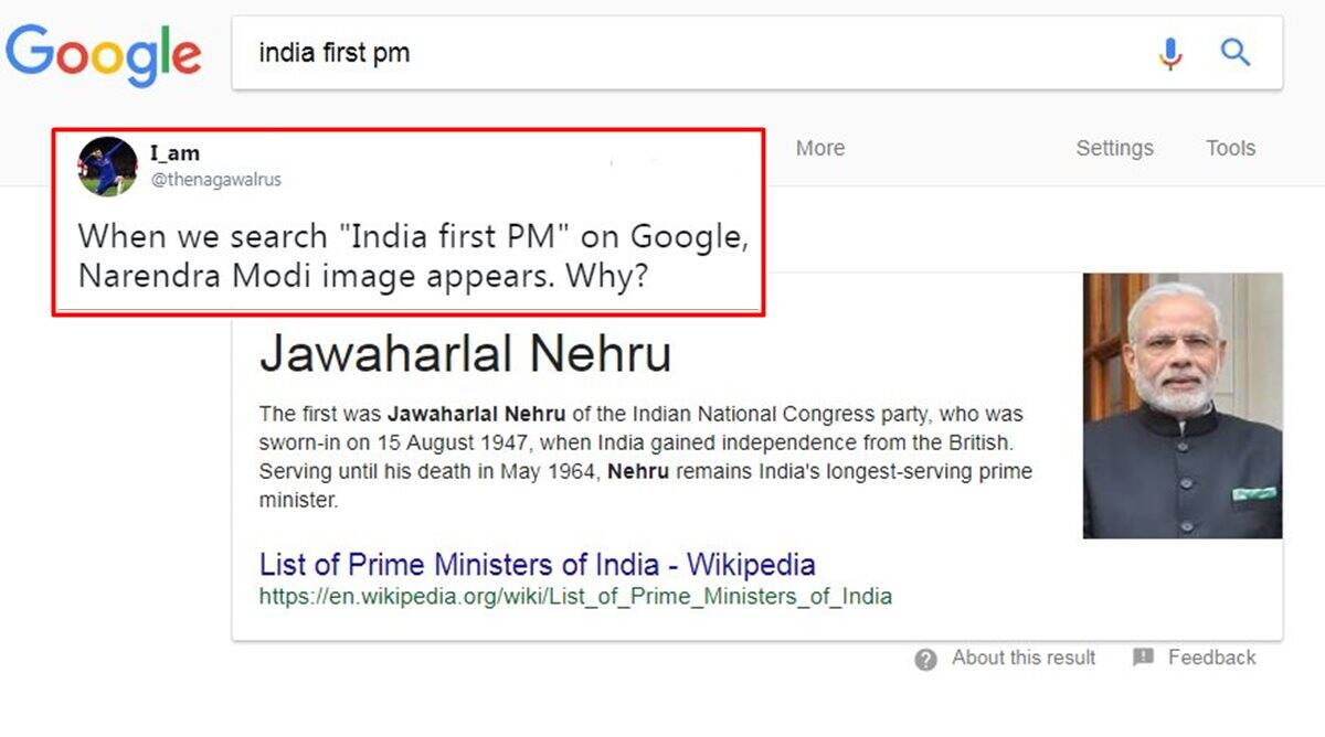 narendra modi, india first pm google search, india first pm google modi nehru