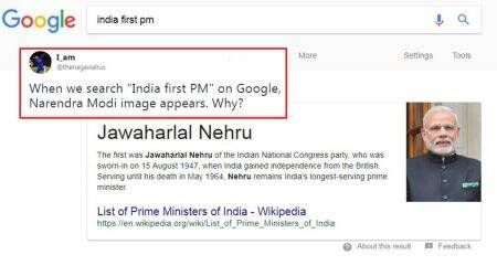 'India first PM' Google search doesn't show Modi's photo with Nehru's name any more