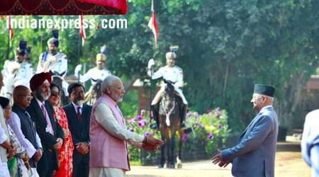 kp oli photos, nepal pm pictures, pm modi images, rashtrapati bhawan pics, oli ceremonial welcome photo, kp oli wife images, indian express