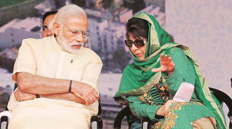 Prime Minister Narendra Modi with Jammu and Kashmir Chief Minister Mehbooba Mufti. (PTI/File)