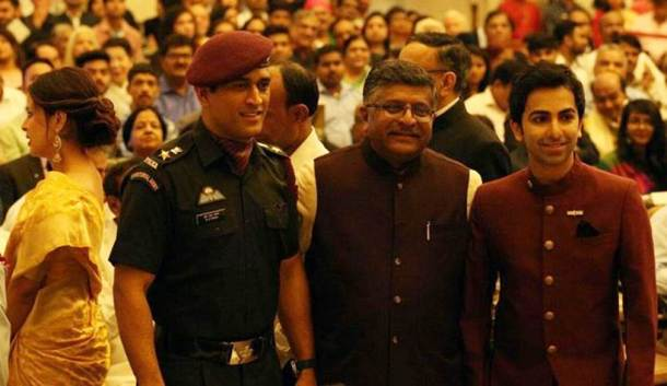 MS Dhoni and Pankaj Advani with Union Minister Ravi Shankar Prasad.
