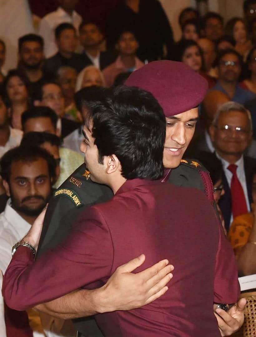 MS Dhoni with Pankaj Advani