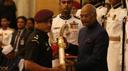 MS Dhoni receives Padma Bhushan Award from President ofIndia