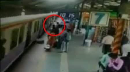 Watch: Quick to react, RPF saves woman from slipping under train inMumbai