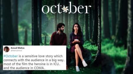 Varun dhawan, banita sandhu, october film reviews, october film reviews twitter reactions, Varun dhawan October twitter reactions, Indian Express, Indian Express News