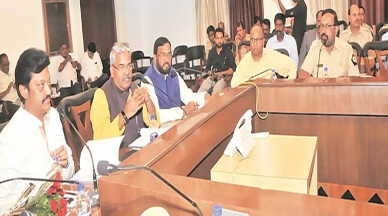 Adhalrao-Patil (second from left) with MPs Anil Shirole (left) and Amar Sable (third from left) at the meeting. (Express photo)