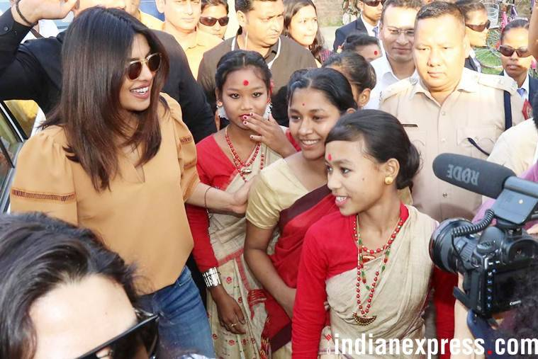 Priyanka Chopra in Assam, tries performing Bihu dance