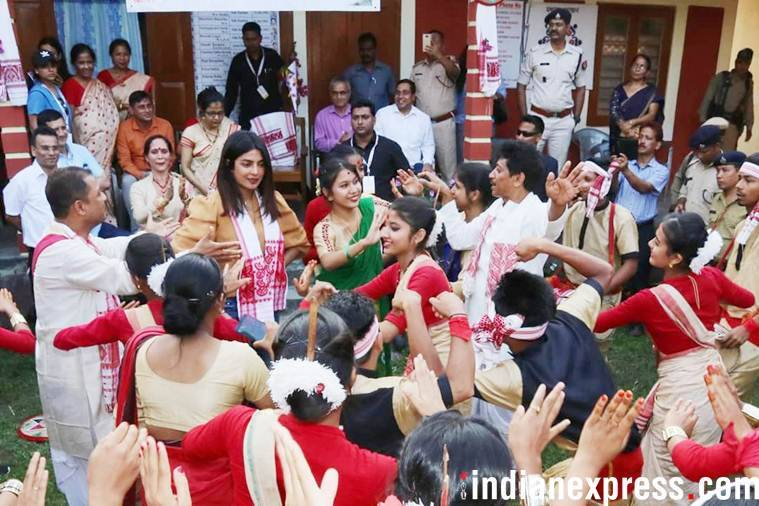 Priyanka Chopra try her luck at Bihu dance
