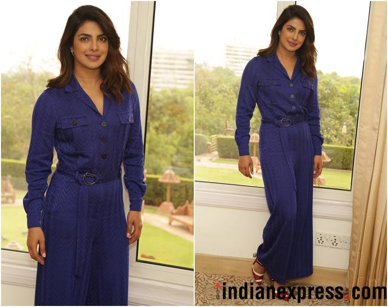 Priyanka Chopra, Priyanka Chopra Unicef delhi, Priyanka Chopra blue jumpsuit, Priyanka Chopra fashion, Priyanka Chopra style, Priyanka Chopra latest photos, Priyanka Chopra latest news, Priyanka Chopra images, Priyanka Chopra pictures, Priyanka Chopra updates, indian express, indian express news