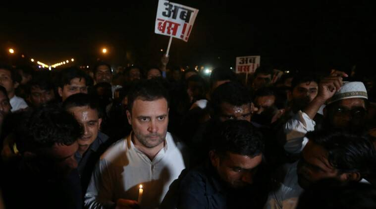 Congress india gate march over kathua unnao rape cases for Meaning of farcical in hindi