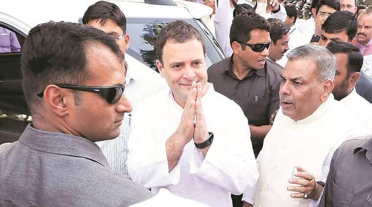 Rahul Gandhi in Lucknow on Monday. (Vishal Srivastav)