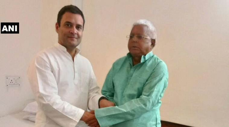 Congress president Rahul Gandhi met RJD chief Lalu Prasad Yadav at AIIMS in New Delhi on Monday. (ANI)