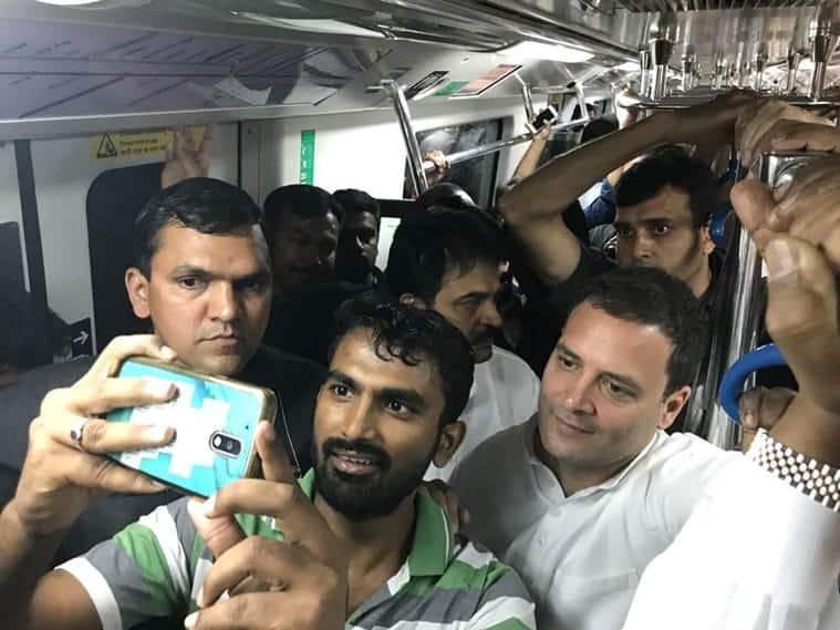 rahul gandhi photo, rahul gandhi delhi metro pics, congress president images, rahul gandhi taking metro ride pictures