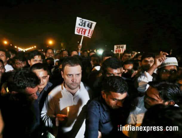 rahul gandhi photos, india gate protest images, candlelight vigil pictures, kathua gangrape, ashifa, congress midnight protest, priyanka gandhi images, unnao rape protest pics, indian express