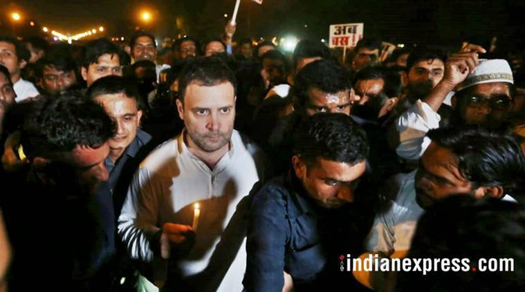 Rahul Gandhi on Thursday midnight, led a candlelight vigil, to protest against the two rape cases that have created a storm across the country. (Express photo/File)