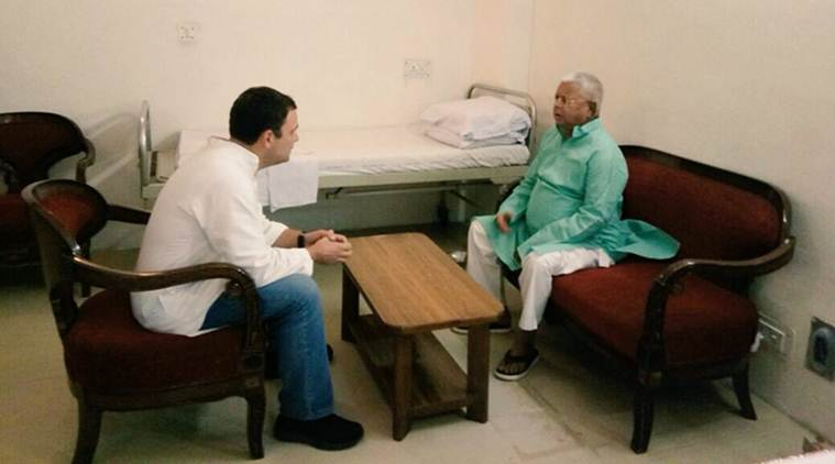 Congress President Rahul Gandhi meets Lalu Yadav at AIIMS in Delhi