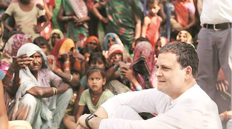 Rahul Gandhi at Sarda Mau village in Amethi on Monday. PTI